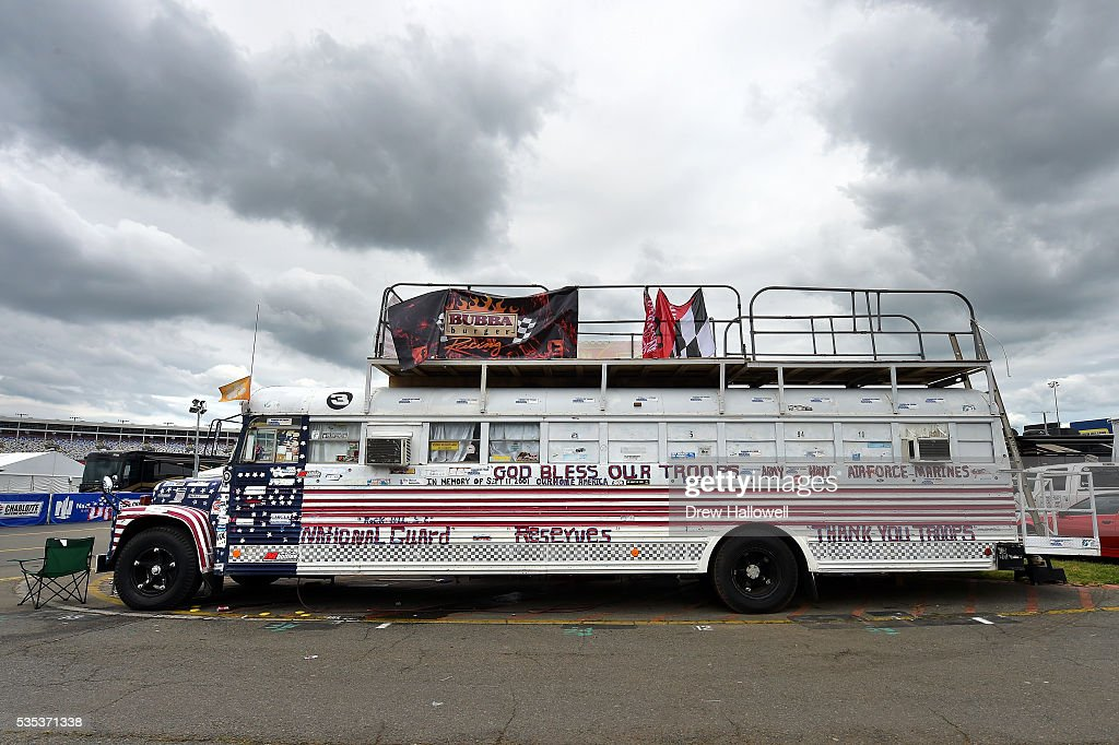 A view of a decorated bus as it is parked in the infield prior to the NASCAR Sprint Cup Series Coca-Cola 600 at Charlotte Motor Speedway on May 29, 2016 in Charlotte, North Carolina.