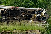 A view of a derailed passenger train which collided with a goods train just outside the city of Liege on June 6 2016 in HermallesousHuy Belgium At...