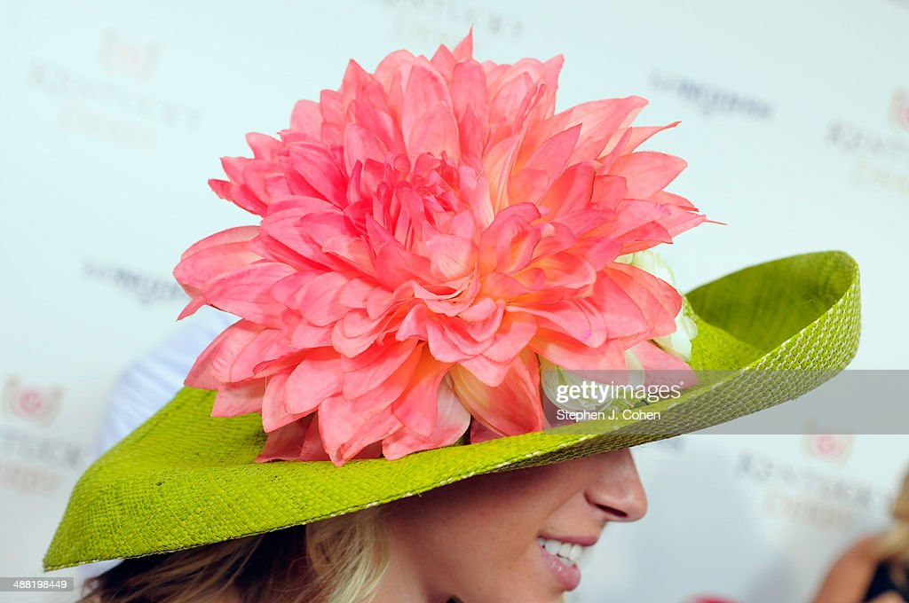 A view of a Derby hat at the 140th Kentucky Derby at Churchill Downs on May 3 2014 in Louisville Kentucky