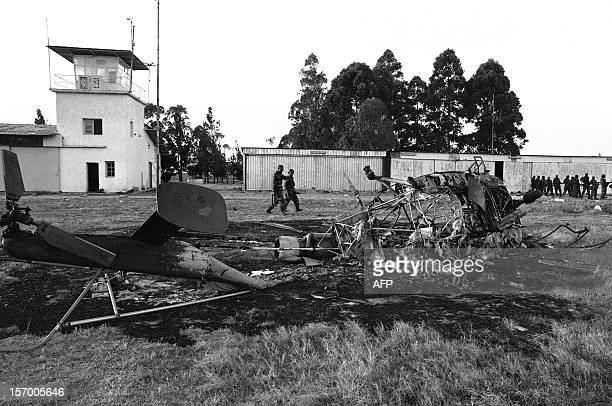 View of a destroyed plane on the tarmac of Kolwezi airport in the Shaba province 19 May 1978 Fierce fightings are occuring between zairese troops and...