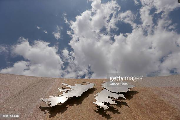 View of a detail of the Monument to the Fallen of Islas Malvinas War on March 27 2015 in Buenos Aires Argentina On April 02 1982 Leopoldo Fotunato...