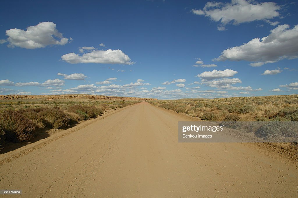 View of a dirt road near Chacon Canyon, New Mexico, USA : Stock Photo