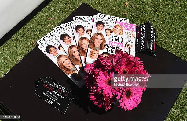 A view of a display table during the People StyleWatch REVOLVE Fashion and Festival Event at Avalon Palm Springs on April 11 2015 in Palm Springs...