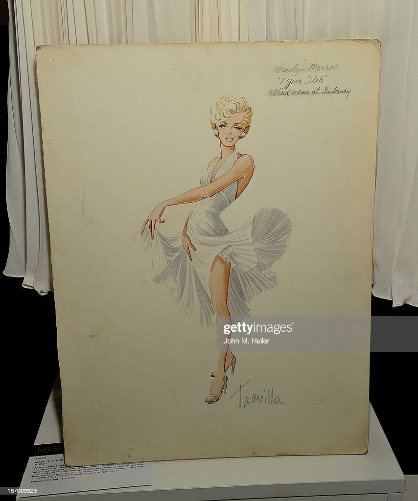A view of a drawing of a dress worn by actress Marilyn Monroe at the press preview for Icons & Idols Fashion and Hollywood Exhibit at Julien's Auctions Gallery on November 5, 2013 in Los Angeles, California.