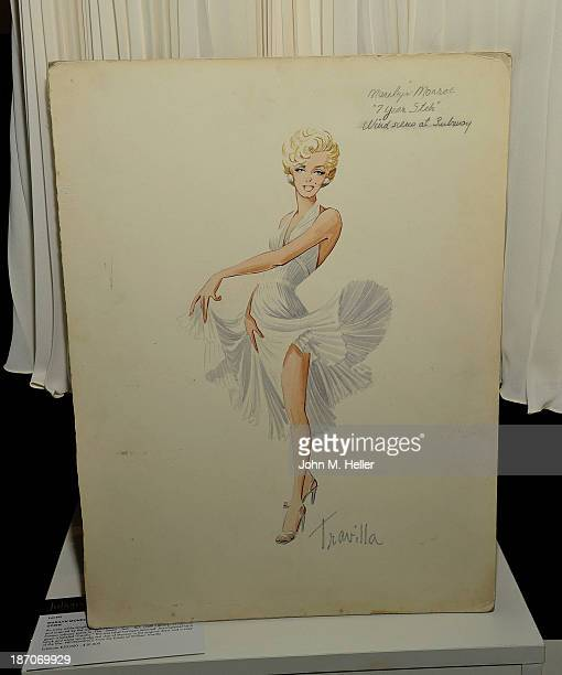 A view of a drawing of a dress worn by actress Marilyn Monroe at the press preview for Icons Idols Fashion and Hollywood Exhibit at Julien's Auctions...