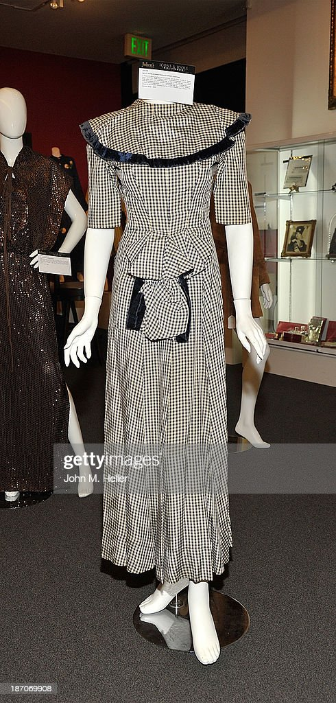 A view of a dress worn by Betty Grable in the movie 'Sweet Rosie O'Grady' is at the press preview for Icons & Idols Fashion and Hollywood Exhibit at Julian's Auctions Gallery on November 5, 2013 in Los Angeles, California.