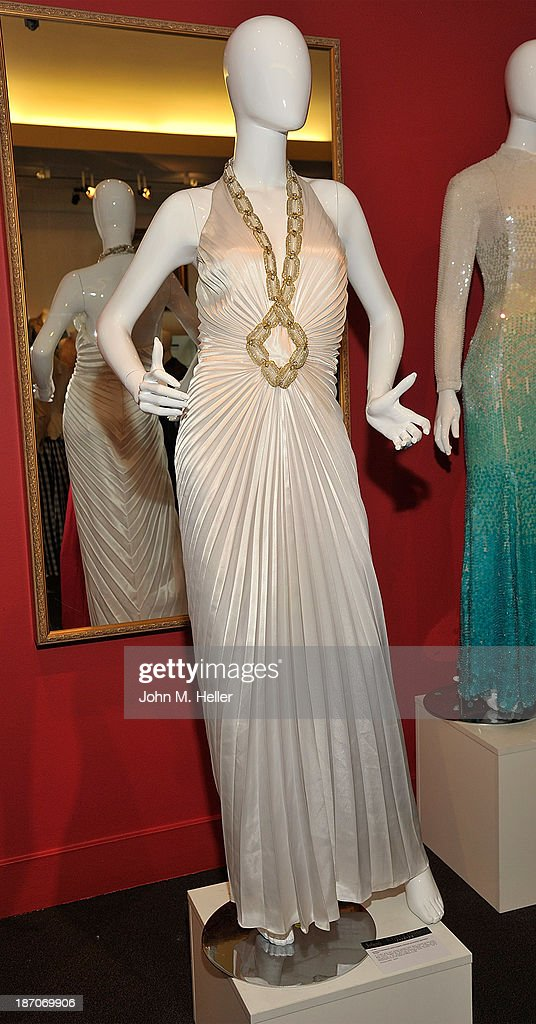 A view of a dress worn by Marilyn Monroe in 'Gentlemen Prefer Blondes' at the press preview for Icons & Idols Fashion and Hollywood Exhibit at Julien's Auctions Gallery on November 5, 2013 in Los Angeles, California.