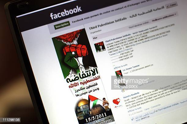 A view of a Facebook page taken in Gaza City on March 31 2011 Attempts by Facebook to shut down a 'Third Intifada' page backfired with over 7000...