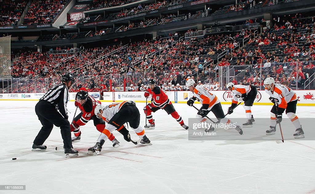 A view of a faceoff between the Philadelphia Flyers and the New Jersey Devils during the game at the Prudential Center on November 2, 2013 in Newark, New Jersey.