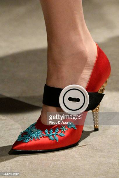 A view of a fashion detail on the runway at the Prada show during Milan Fashion Week Fall/Winter 2017/18 on February 23 2017 in Milan Italy