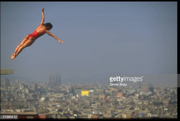 A view of a female diver as she dives at the Olympic Park in a competetion before the Olympic games Barcelona Spain