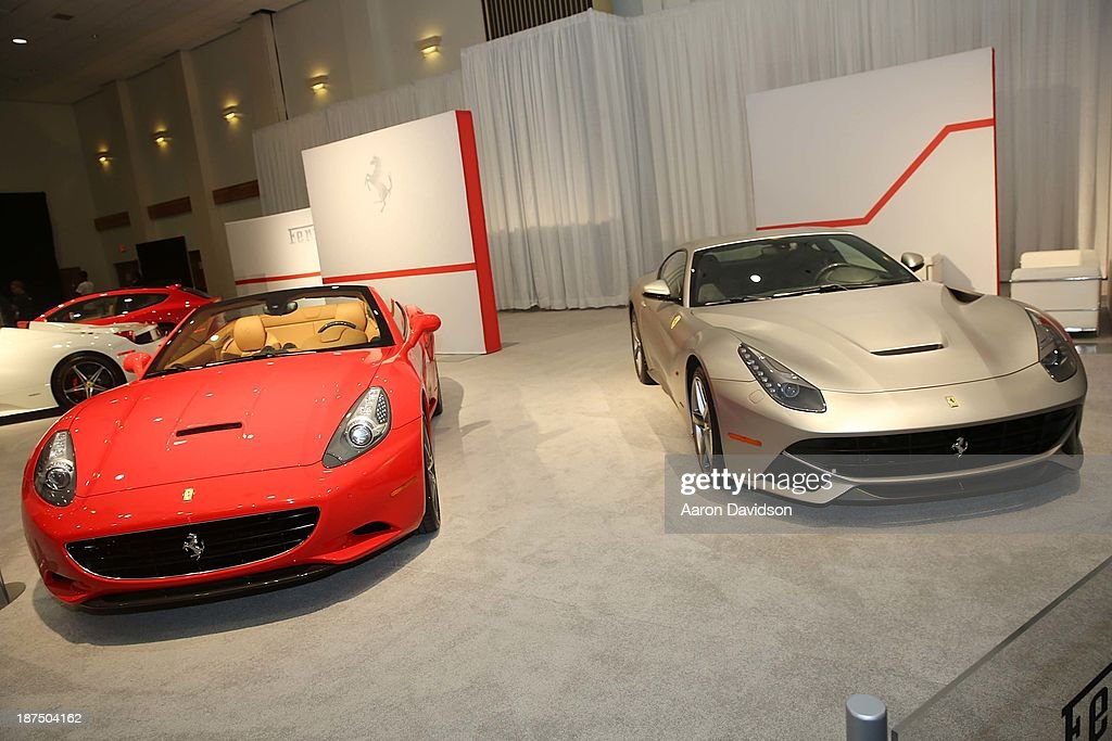 A view of a Ferrari at Miami International Auto Show at the Miami Beach Convention Center on November 9, 2013 in Miami Beach, Florida.