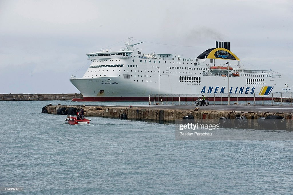 A view of a ferry arriving at the port of Heraklion on February 24, 2011 in Heraklion, Greece.