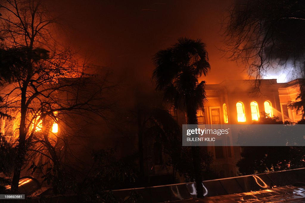 View of a fire at the Galatasaray University as Istanbul firemen try to control the flames on January 22, 2013, in Istanbul. AFP PHOTO/BULENT KILIC