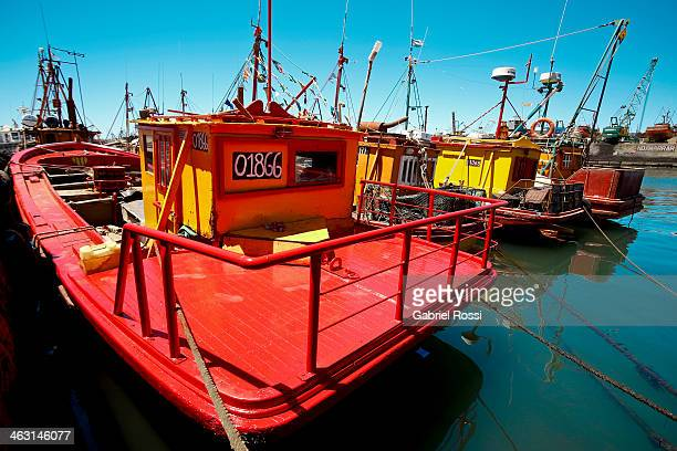 View of a fisher ship at Mar del plata Port on Januay 12 2014 in Mar del Plata Argentina The harbor is one of the most traditional tourist atractions...