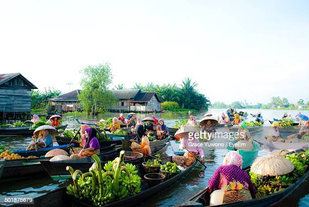 View of a floating market