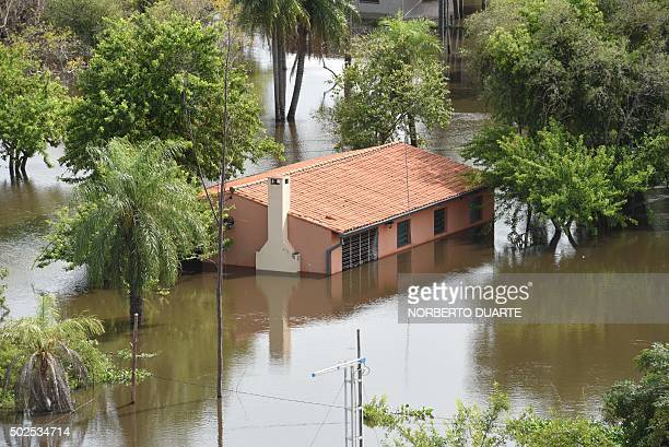 View of a flooded area in Falcon 42 km west from Asuncion in the ParaguayArgentina border on December 26 2015 Flooding dampened Christmas eve...