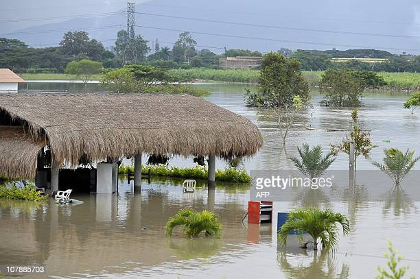 KIEFFER View of a flooded area in La Dolores rural area of Palmira department of Valle del Cauca Colombia on December 16 after the Frayle river...