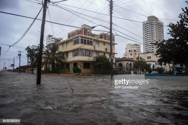 View of a flooded street during the passage of Hurricane Irma in Havana on September 9 2017 Irma's blast through the Cuban coastline weakened it to a...