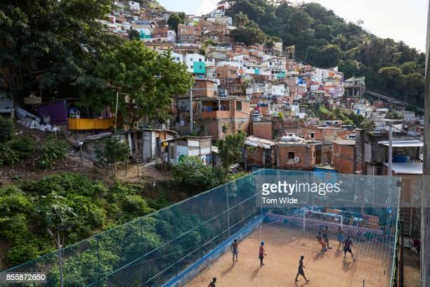View of a football court in a favela in Rio de Janeiro