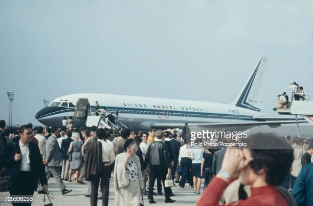 View of a French built Dassault Mercure narrow body twin engine civilian jet aircraft on static display at Le Bourget Airport during the 1971 Paris...