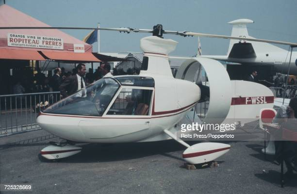 View of a French built Rabouyt D2 autogyro on static display at Le Bourget Airport during the 1971 Paris Air Show in Paris France in May 1971