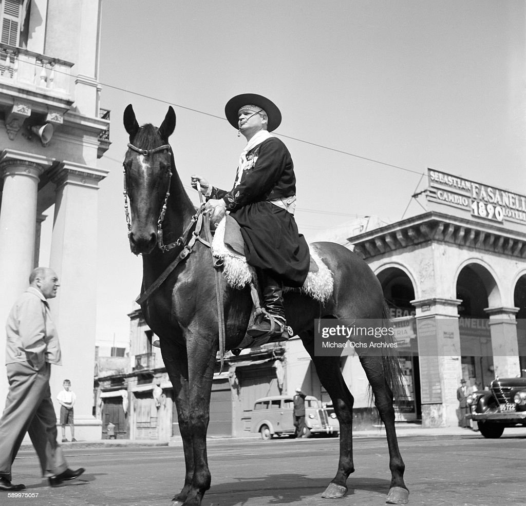 A view of a Gaucho sitting on his horse at the Patria Grande Festival in Montevideo Uruguay