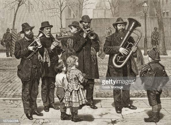 View of a German musical band on a street in New York circa 1879