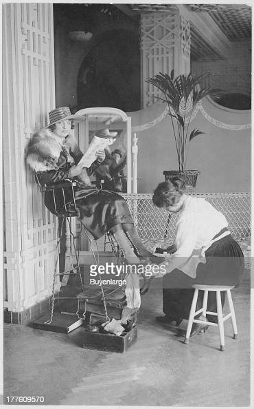 View of a girl bootblack at the Hotel McAlpin New York