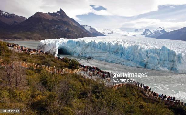 View of a glacier cave of the Perito Moreno Glacier located at Los Glaciares National Park southwest Santa Cruz Province Argentina on March 9 2016...