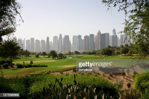 Blick auf den Golfplatz in Dubai : Stock-Foto