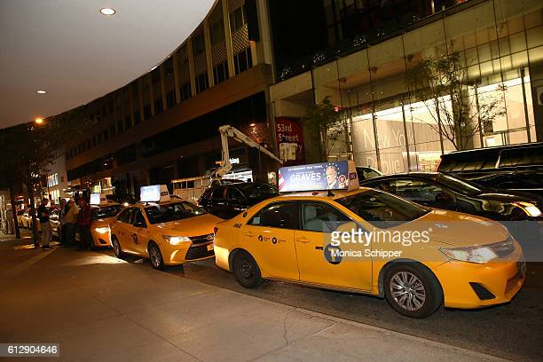 View of a 'Graves'branded cab during the EPIX Graves NY premiere on October 5 2016 in New York City
