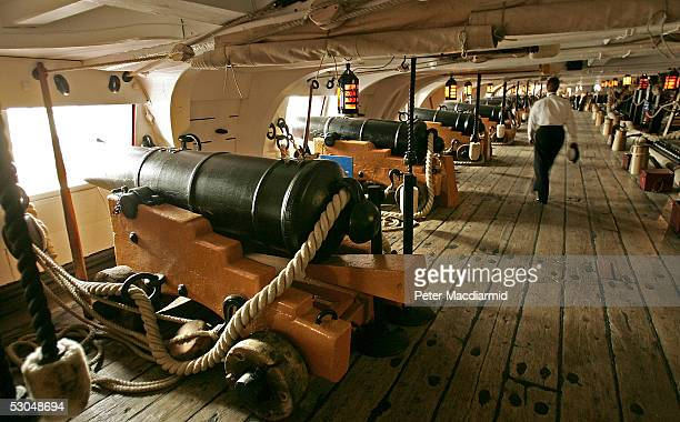 A view of a gun deck on Admiral Lord Nelson's flagship HMS Victory which stands in dry dock at Portsmouth Naval base on June 10 2005 in Portsmouth...