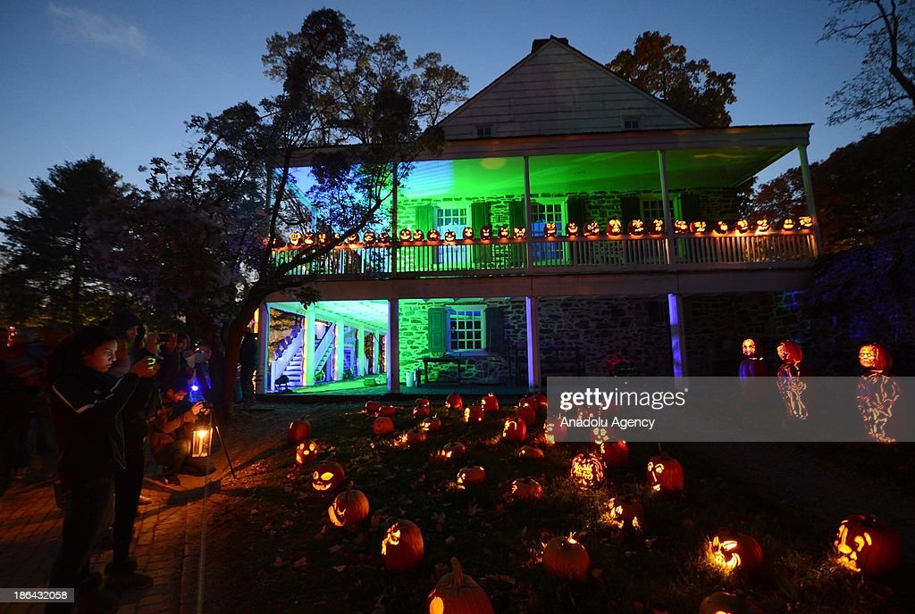 A view of a Halloween pumpkins exhibition in a farmhouse in Westchester County located in New York, USA on October 30, 2013. More than one hundred thousand visitors saw the exhibition where nearly five thousand decorated and lightened Halloween pumpkins displayed in twenty-five days.