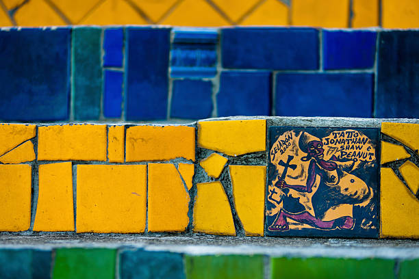 View Of A Hand Painted Tile On Selaron S Stairs Escadaria Selarón Colorful