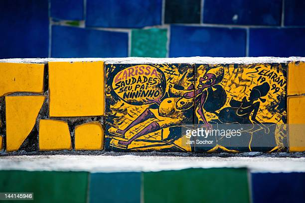 View of a hand painted tile on Selaron's Stairs a mosaic staircase made of colorful tiles in Rio de Janeiro Brazil 12 February 2012 Worldfamous...