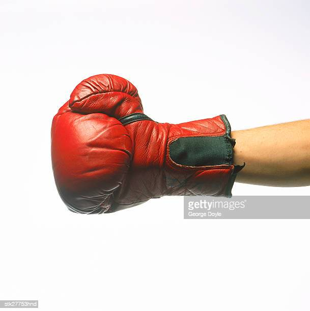view of a hand wearing a boxing glove
