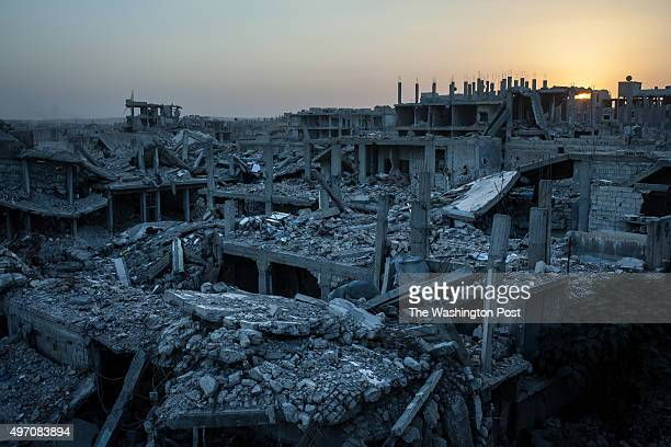 View of a heavily damaged neighborhood in Kobane Syria targetted by a series of USled coalition airstrikes aimed at Islamic State members