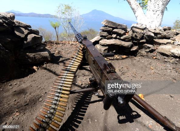 View of a heavy machine gun at Conejo island in Fonseca Gulf 150 km south of Tegucigalpa Honduras on March 22 2014 A heliport was inaugurated by...
