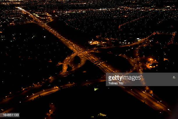 View of a highway interchange at night, Melbourne, Victoria, Australia
