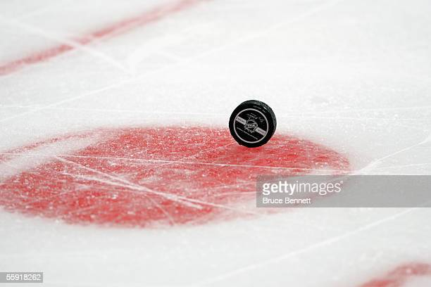 View of a hockey puck on the ice during the New York Rangers game against the Montreal Canadiens during the season opening game at Madison Square...