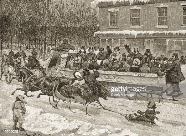 View of a horse drawn sleigh in winter being used for public transportation on Broadway in New York circa 1860
