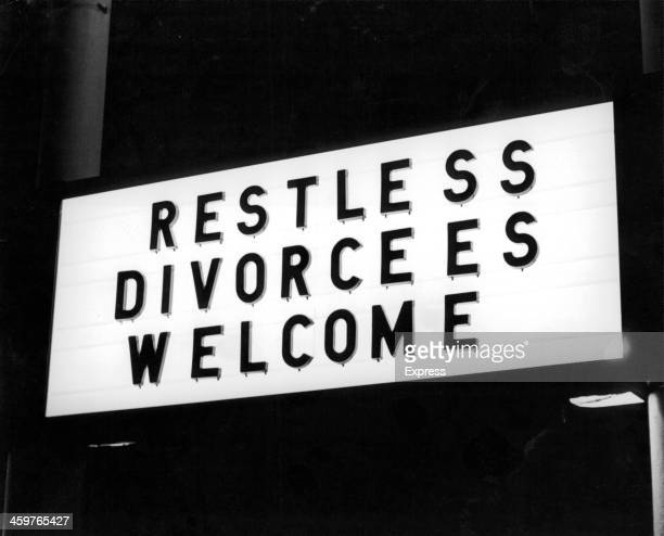 A view of a hotel sign in Reno Nevada famous for speedy divorces Circa 1940