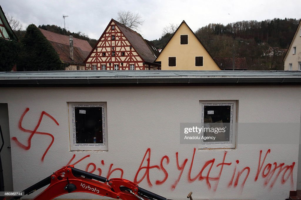 A view of a house damaged in an arson attack in Vorra in southern Germany near Nuremberg on December 12 2014 Three buildings which had been recently...