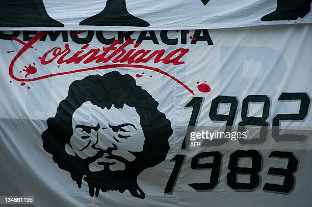 View of a huge banner in homage of the late footballer Socrates during the Brazilian Championship final date match Corinthians vs Palmeiras at the...