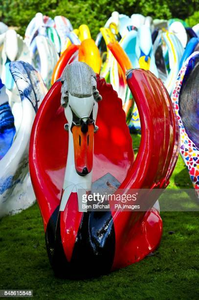 A view of a judge themed sculpture called 'Up Before The Beak' by artist James Mark Long which is part of a giant flock of around 60 brightly...