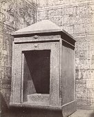 View of a kiosk inside an excavated temple room the walls of which are covered in hieroglyphs Egypt circa 1881