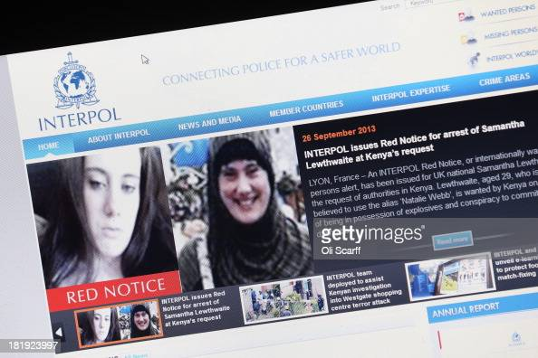 A view of a laptop computer screen showing the Interpol website which features a 'Red Notice' for the arrest of Samantha Lewthwaite on September 26...