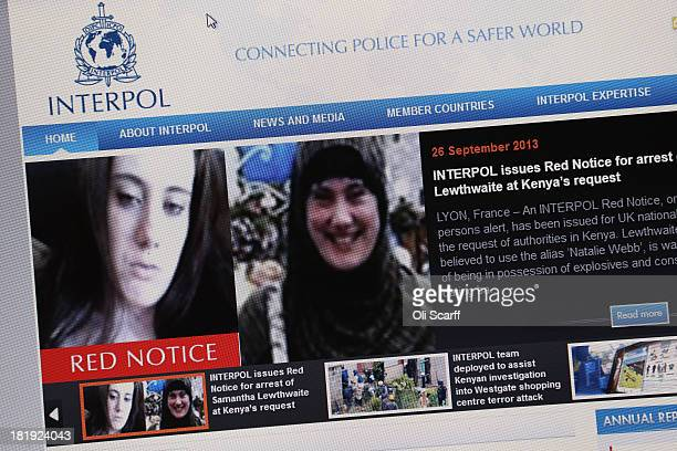 A view of a laptop computer showing the Interpol website which features a 'Red Notice' for the arrest of Samantha Lewthwaite on September 26 2013 in...