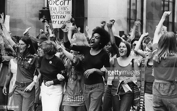 View of a line of women at the head of the 'Strike for Equality' march along Madison Avenue which demonstrated against a number of 'offensive...